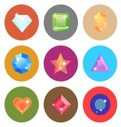 Gem stone flat color icons on white background vector