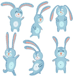 happy cute cheerful rabbits set vector image