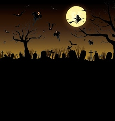 Happy halloween pumpkin in moon night on black sky vector