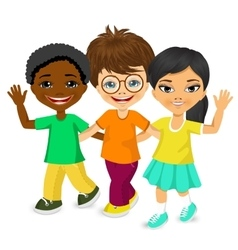 happy multiracial children walking together vector image vector image
