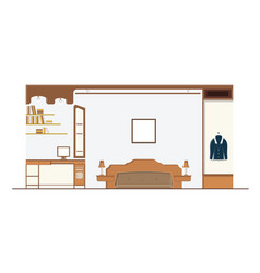 interior bedroom design with furniture vector image