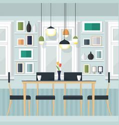Interior dinner room vector