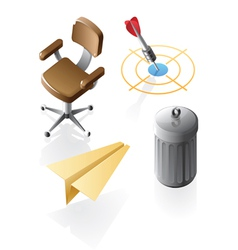 Isometric icons for office time vector image
