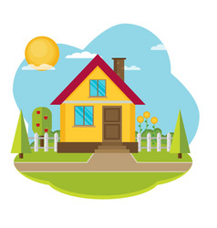 Landscape with beautiful house vector