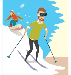 Man playing a Virtual Reality game Skiing vector image
