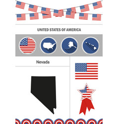 map of nevada set of flat design icons vector image vector image
