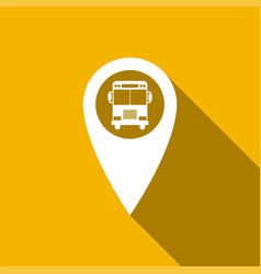 map pointer with bus icon with long shadow vector image