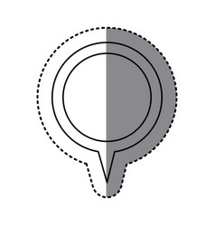 Monochrome sticker of circular speech with tail vector
