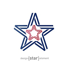 monocrome star from ribbon vector image vector image