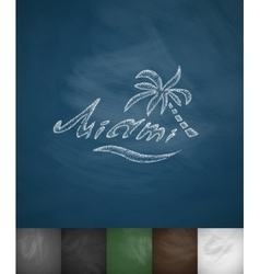 Palm miami icon hand drawn vector