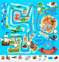 Pirate Treasure Map Labyrinth vector image vector image