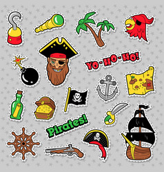 Pirates badges patches and stickers with ship vector