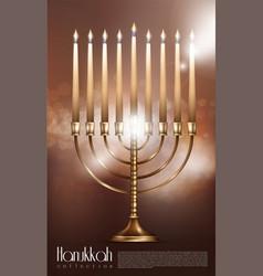 Realistic happy hanukkah concept vector