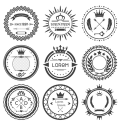 Set of round retro labels vector