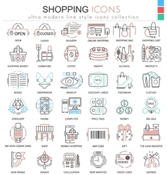 Shopping e-commerce color line outline vector image vector image