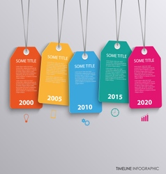 Time line info graphic with colorful hanging tags vector