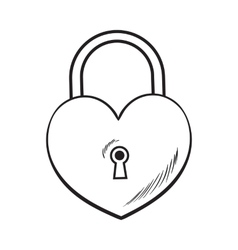 Traditional heart shaped padlock for love lock vector
