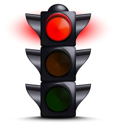 traffic light on red vector image vector image