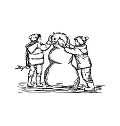 Two boys building a snowman sketch vector