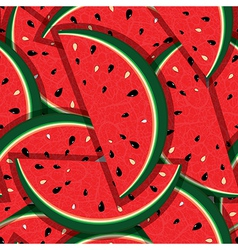 Watermelon fresh slices seamless background vector image vector image