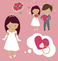 Wedding cartoons vector image vector image