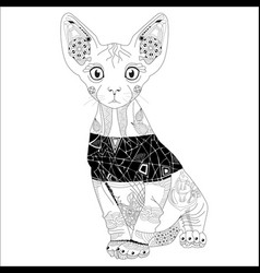 Zentangle stylized cat hand drawn lace vector