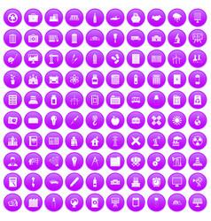 100 company icons set purple vector