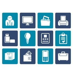Flat Business and office equipment icons vector image