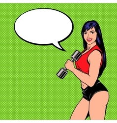 Smiling comic girl with dumbbell vector