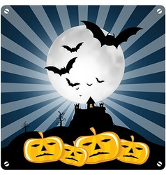 Happy halloween retro with spooky castle bats and vector