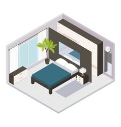 Set isometric bedroom interior vector