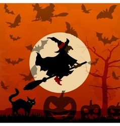Halloween background with flying witch vector
