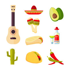 mexican cuisine cartoon vegetables food and vector image