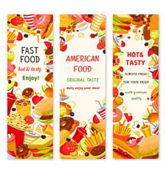 Fast food restaurant menu banners vector