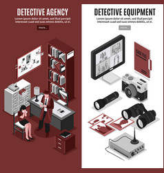Detective agency vertical banners vector