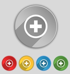 Plus positive zoom icon sign symbol on five flat vector