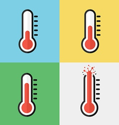 Broken thermometer overheat flat design vector