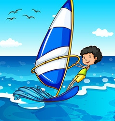 Boy surfing in the ocean vector