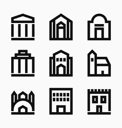 Line buildings icons vector