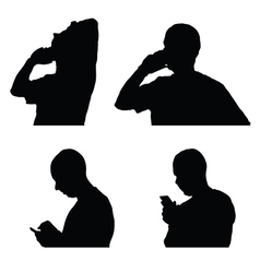 Man and mobile phone silhouette vector