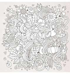 Cartoon hand-drawn doodle thanksgiving vector