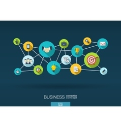 Business network background with integrate flat vector
