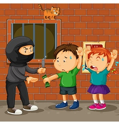 Kids being robbed on the street vector