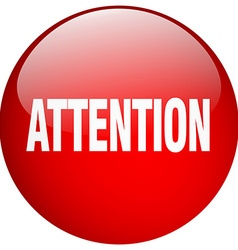 Attention red round gel isolated push button vector