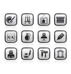 Fine art objects icons vector