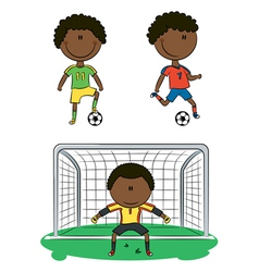 African-American soccer players vector image