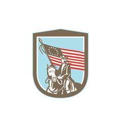 American Revolutionary Serviceman Horse Flag Retro vector image