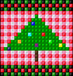 Background gloss cubes and christmas tree vector
