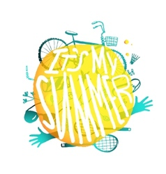 Bright yellow bubble design with active summer vector