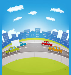 cartoon urban traffic vector image
